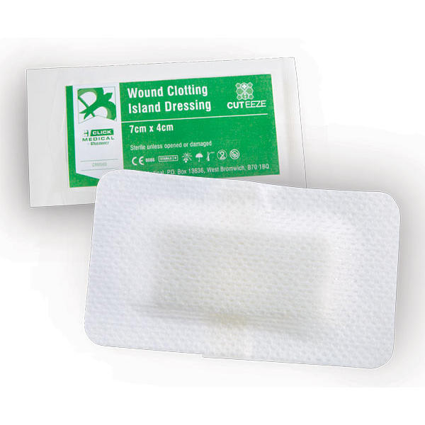 Cut-Eeze Haemostatic Wound Clotting Island Dressing 7x4cm Ref CM0560 [Pack 20] Up to 3 Day Leadtime