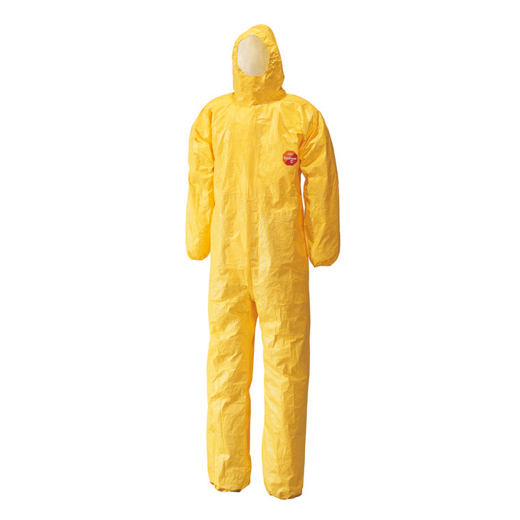 Protective coveralls Tychem C Model CHA5 Hooded Coverall XL Yellow Ref TYCBSXL *Up to 3 Day Leadtime*