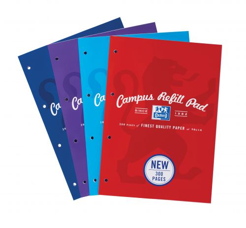 Oxford Campus Refill Pad Ruled & Margin 90gsm 300pp A4 Assorted Ref 400033050 [Pack 3]