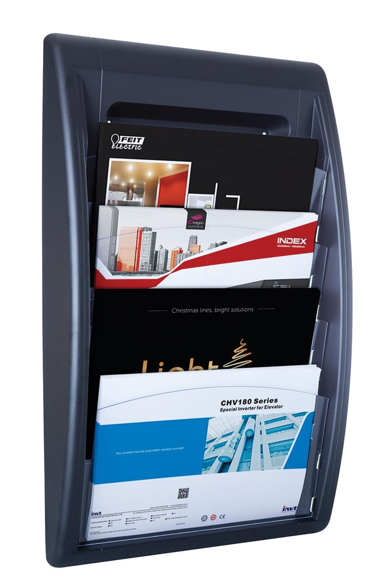 Image for Fast Paper Quick Fit Wall Display 4 Pockets A4 Landscape Black Ref F406001