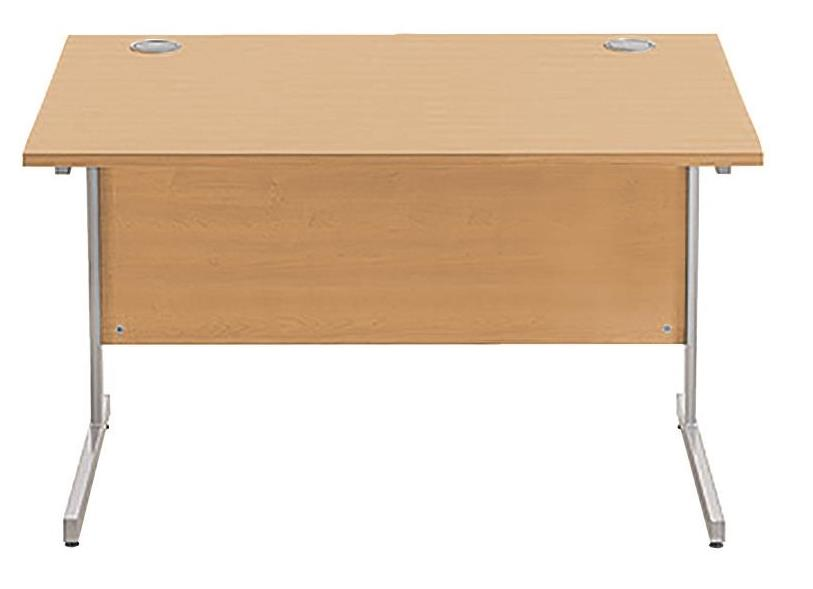 Image for Sonix Cantilever Desk Rectangular Silver Cantilever Leg 1200mm Rich Beech