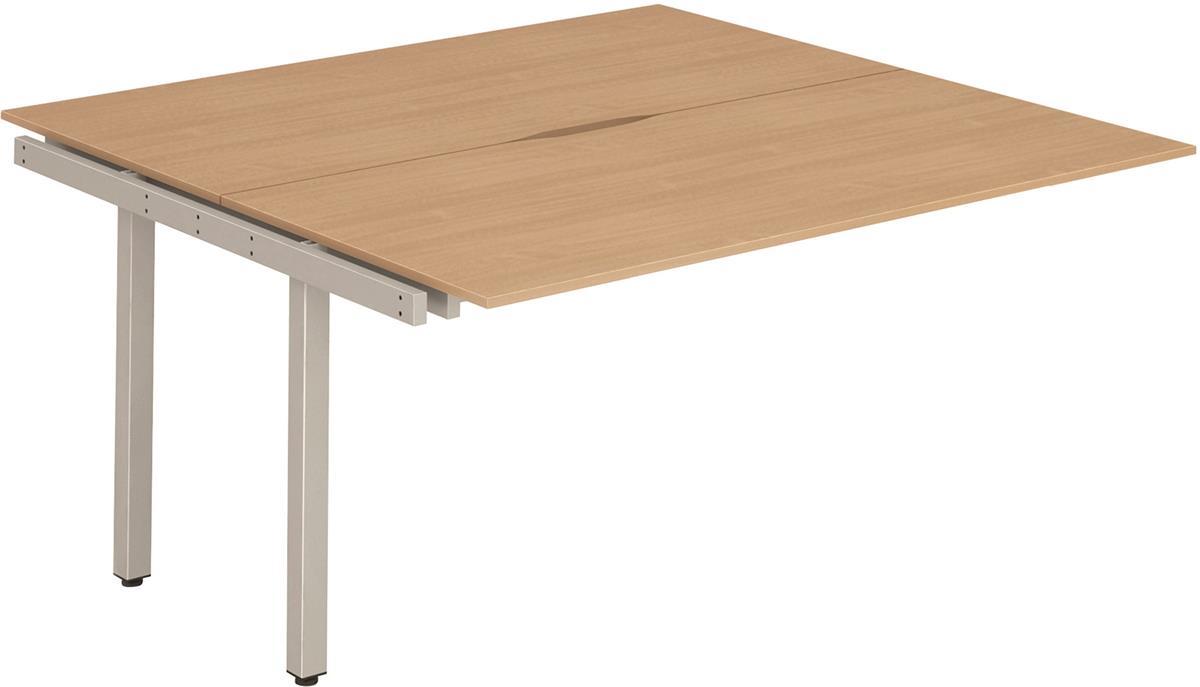 Image for Trexus Bench Desk Double Extension Lockable Sliding Top Silver Leg Frame 1200mm Beech
