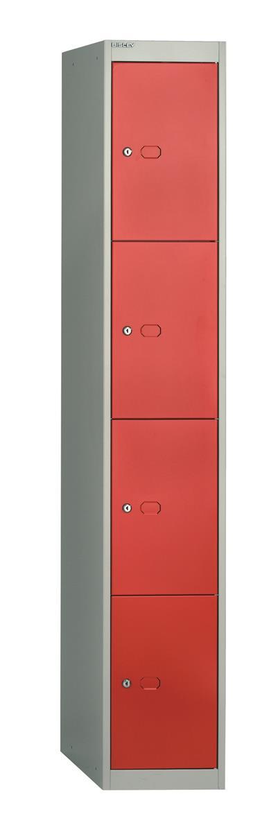 Image for Bisley Steel Locker 457 Four Door Grey/Red