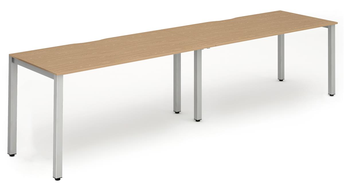 Image for Trexus Side to Side Bench Desk 2 Person Lockable Sliding Top  Silver Leg Frame 1600mm Oak
