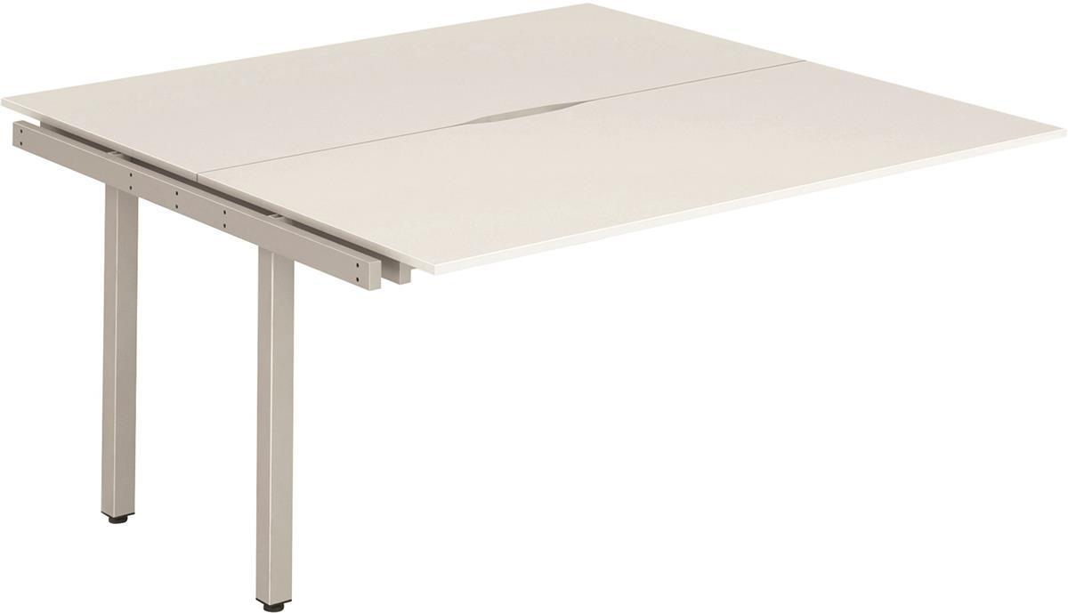 Image for Trexus Bench Desk Double Extension Lockable Sliding Top Silver Leg Frame 1200mm White