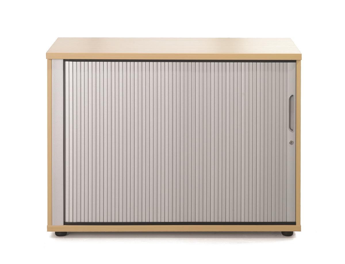 Image for Sonix Tambour Door Cupboard Low Rich Beech/Silver