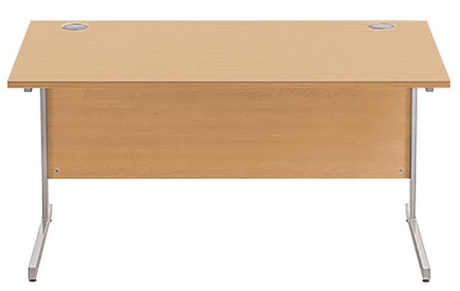 Image for Sonix Cantilever Desk Rectangular Silver Cantilever Leg 1400mm Rich Beech
