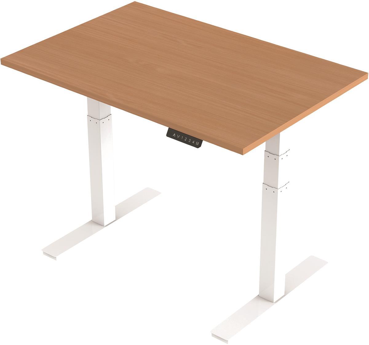 Image for Trexus Sit Stand Desk Height-adjustable White Leg Frame 1200mm Beech