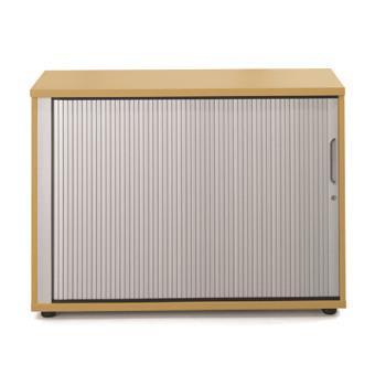 Image for Sonix Tambour Door Cupboard Low Natural Oak/Silver