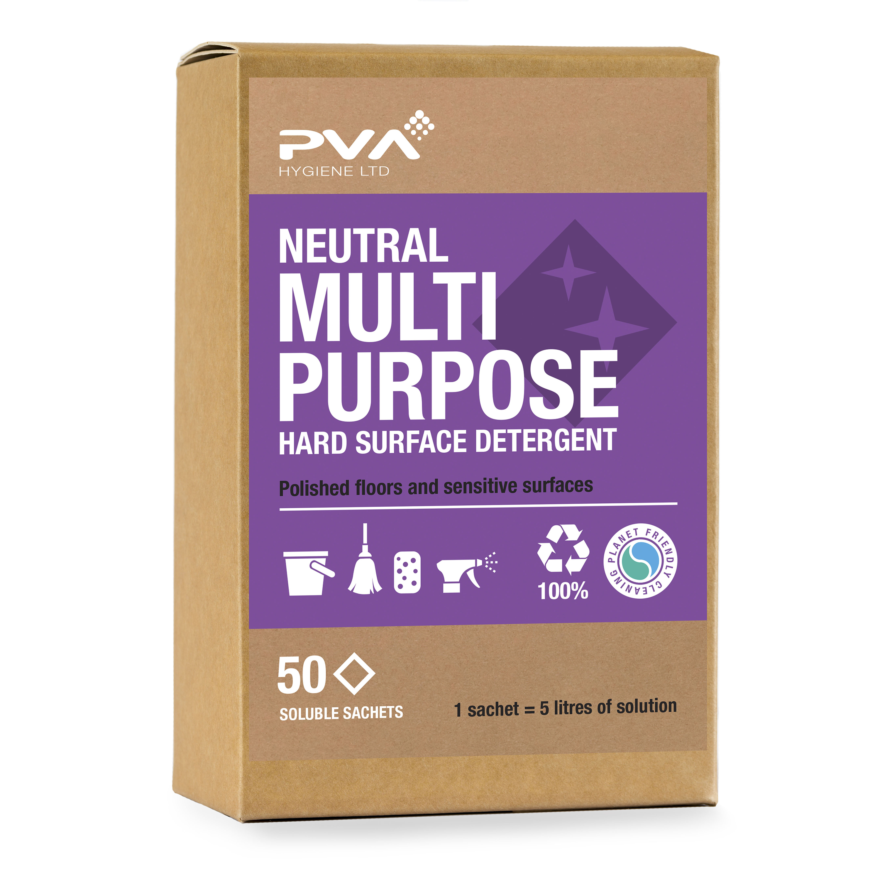 Cleaning Chemicals PVA Neutral Multi-purpose Hard Surface Detergent Sachets Ref PVA A2.55 50 Sachets