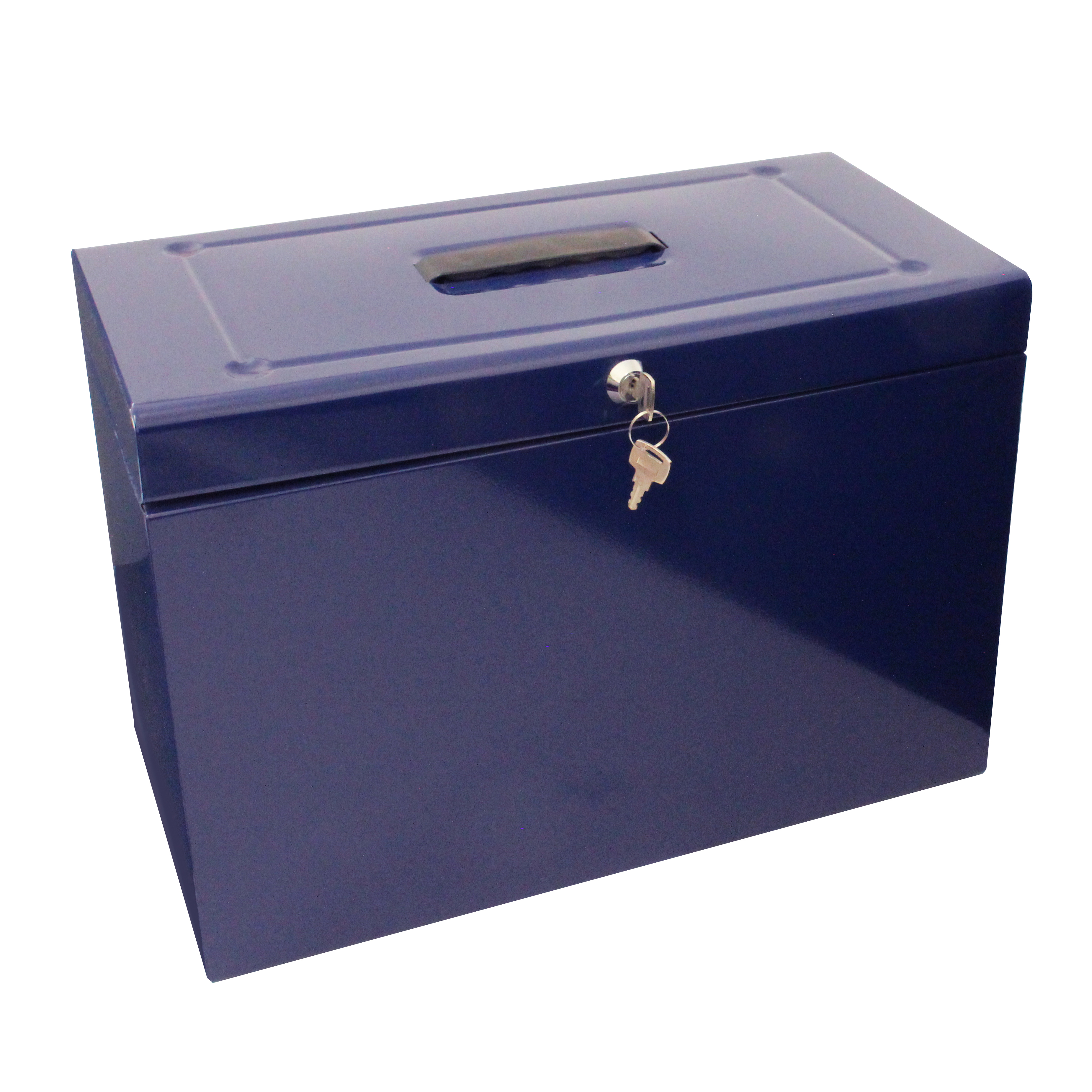 Storage Boxes Metal File with 5 Suspension Files 2 Keys and Index Tabs Steel Foolscap Blue