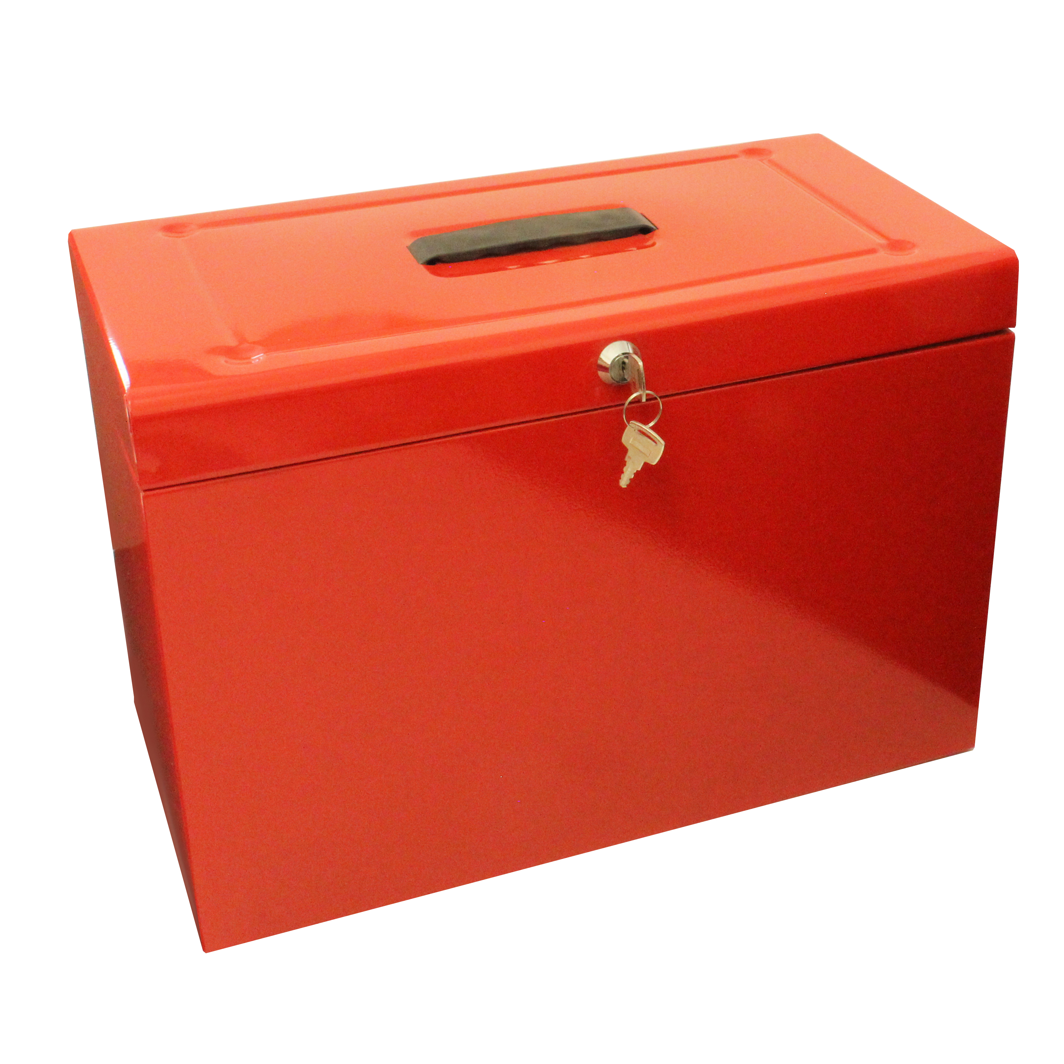 Storage Boxes Metal File with 5 Suspension Files 2 Keys and Index Tabs Steel Foolscap Red