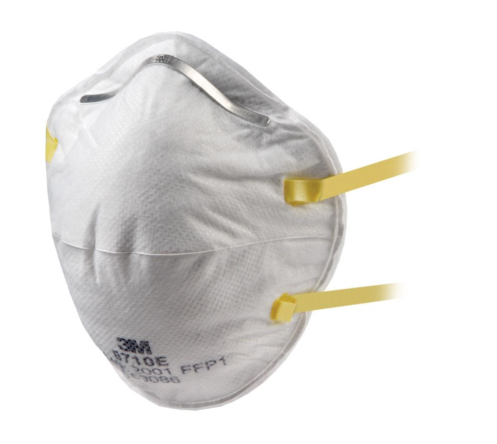 3M Respirator Unvalved FFP1 Classification White with Yellow Straps Ref 8710E [Pack 20]