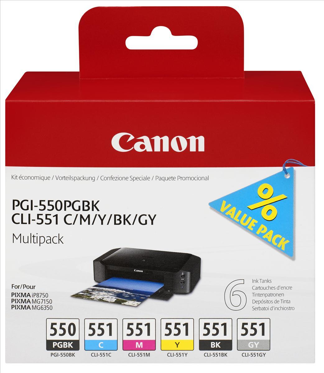 Canon PGI-550/CLI-551 Inkjet Cartridges Multipack C/M/Y/K/GY Ref 6496B005 [Pack 6]