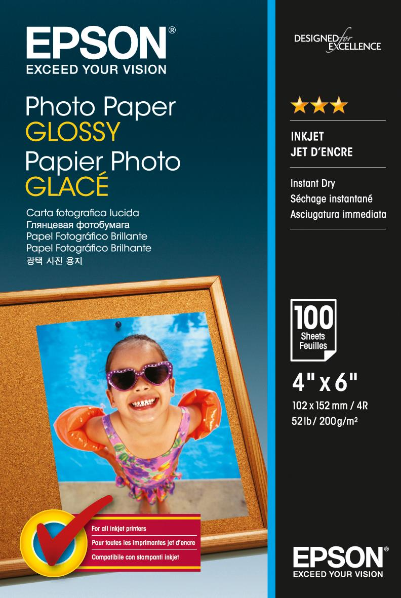 Epson 10x15cm GlossyPhoto Ppr 200g/m2 100Sh for Exp Photo XP-950 Ref C13S042548 *3 to 5 Day Leadtime*