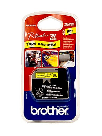 Brother P-Touch M-K631BZ 12mmx8m BlackOnYellow Plastic Labelling Tape Ref MK631BZ *3 to 5 Day Leadtime*