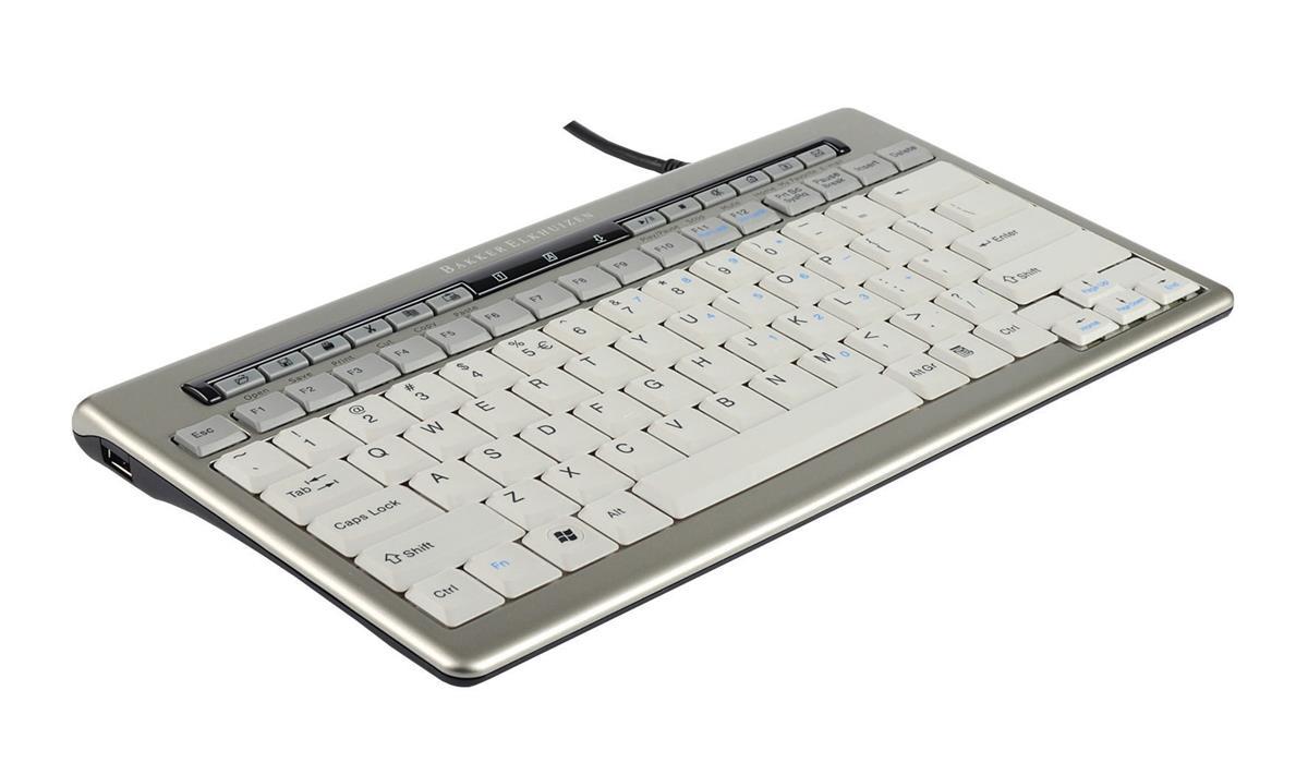 Bakker Elkhuizen S-board 840 Keyboard Ergonomic Compact USB Hub Silver Ref BNES840DUK