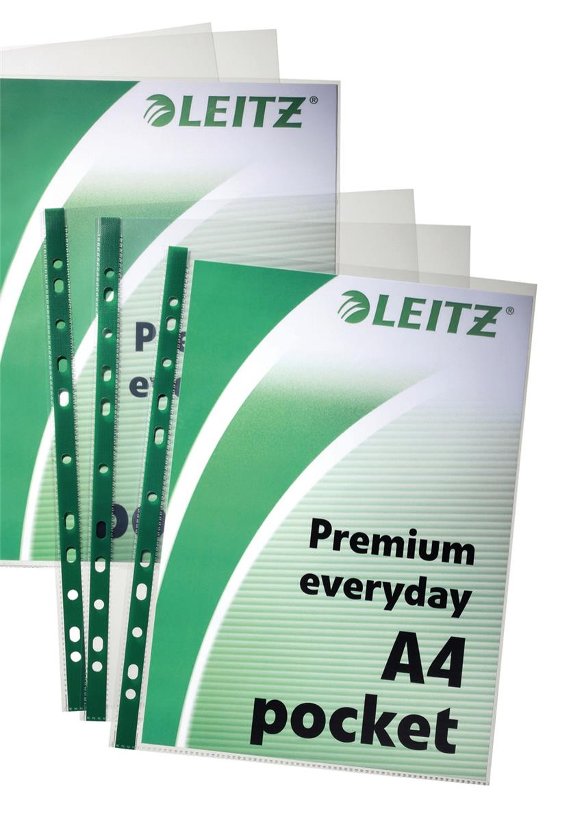 Leitz Premium Everyday Pocket Green Strip 80 Micron A4 Ref 147710002 [Pack 100]