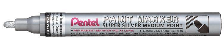 Pentel Paint Marker Metallic Medium Point Silver Ref MMP10-Z [Pack 12]