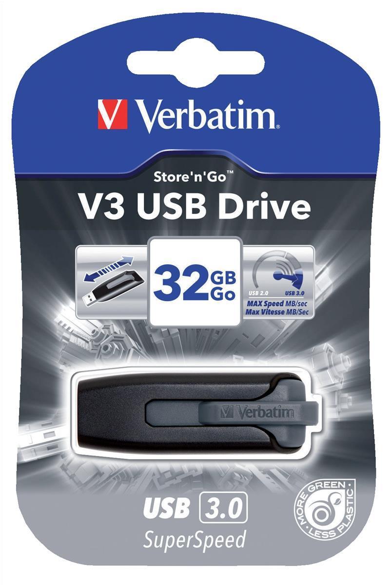 Verbatim V3 USB 3.0 Drive Black/Grey 32GB Ref 49173-1