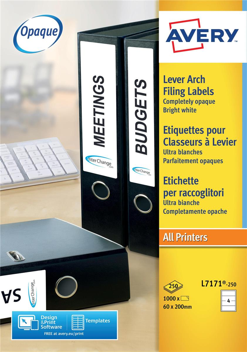 Avery Lever Arch Labels Laser Ref L7171-250 [1000 Labels]