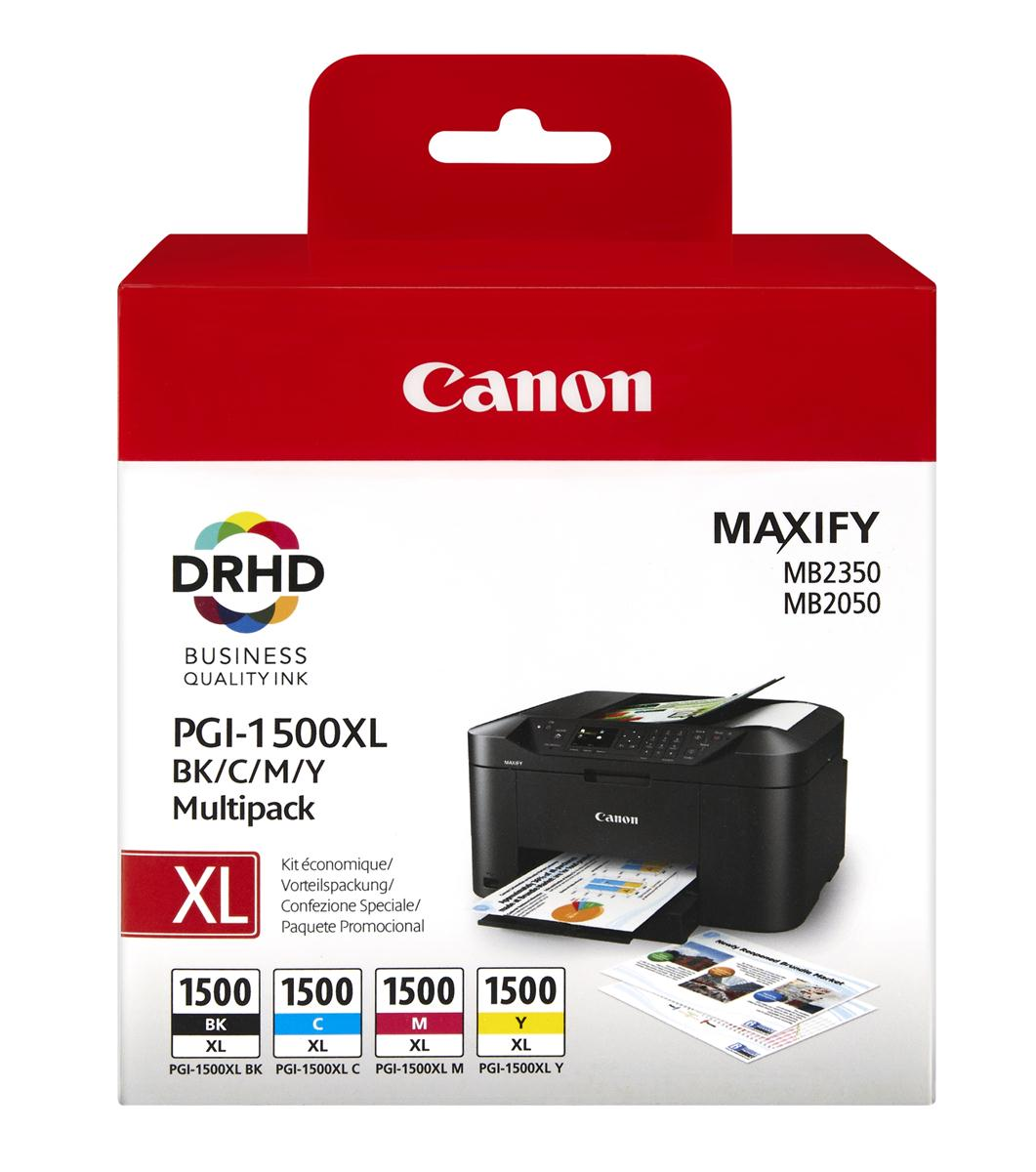 Canon PGI-1500XL Inkjet Cartridge Cyan/Magenta/Yellow/Black Multipack Ref 9182B004AA [Pack 4]