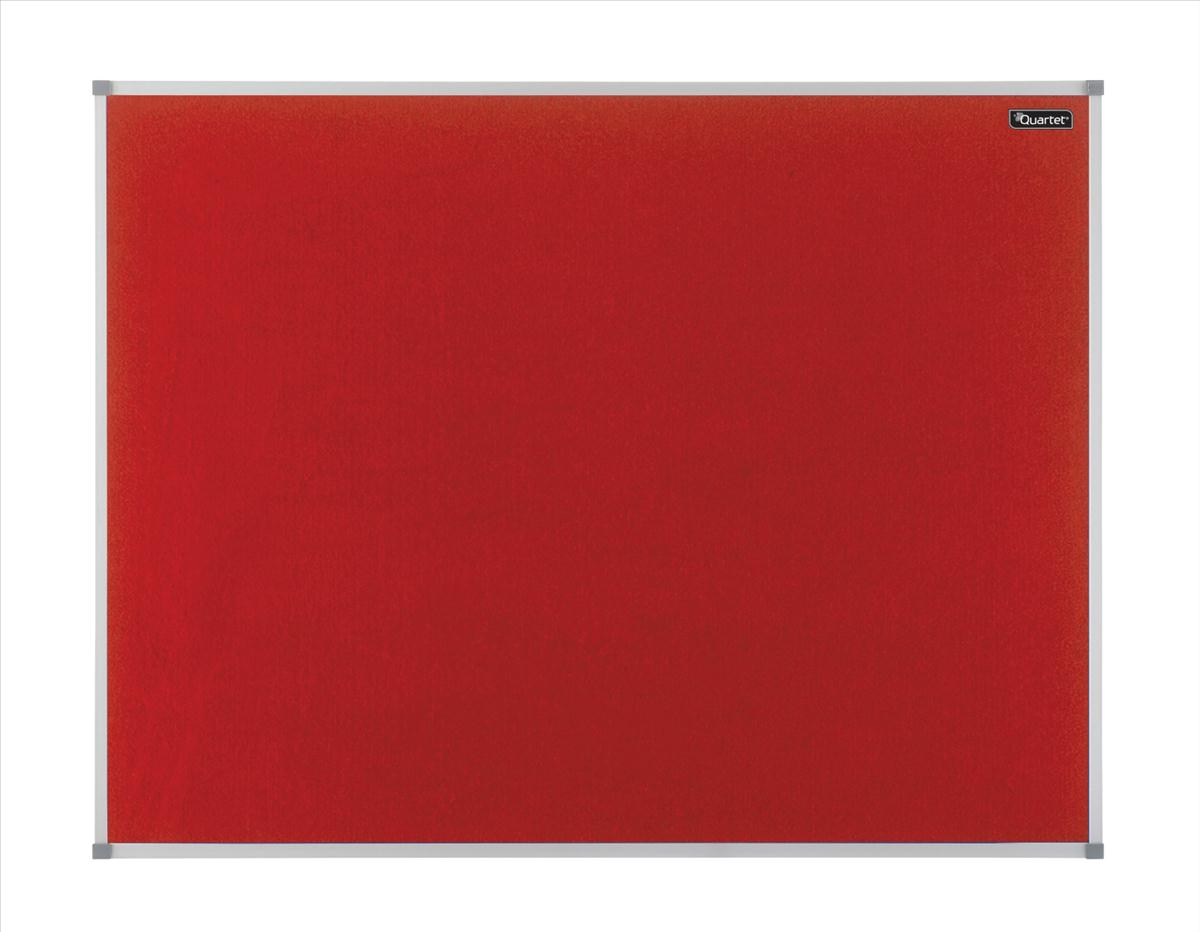 Quartet Felt Notice Board Aluminium Trim 1200x900mm Red Ref 1904067