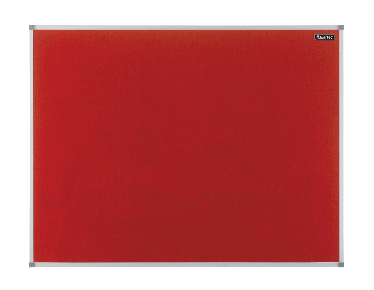 Quartet Felt Notice Board Aluminium Trim 900x600mm Red Ref 1904066