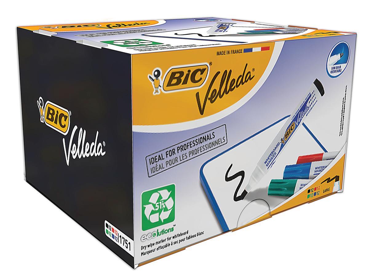 Bic Velleda 1751 Whiteboard Marker Chisel Tip Line Width 3.7-5.5mm Assorted Ref 927261 [Pack 48]