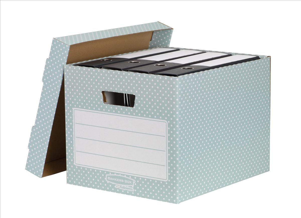 Bankers Box by Fellowes Storage Box Stackable Recycled FSC A4 Green/White Ref 4481301 [Pack 4]