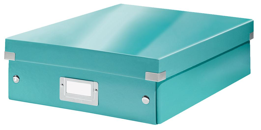 Image for Leitz WOW Click and Store Organiser Box Medium Ice Blue Ref 60580051