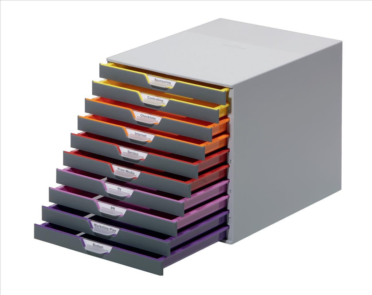 Durable Varicolor Plastic Desktop Drawer Set Stackable 10 Drawers A4 Ref 761027