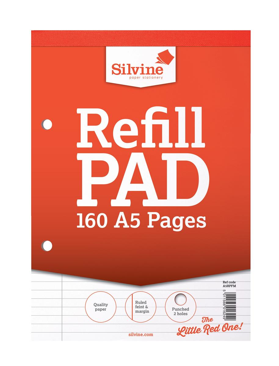 Silvine Refill Pad Headbound Perforated Punched Feint Ruled Margin 160pp 75gsm A5 Ref A5RPFM [Pack 6]