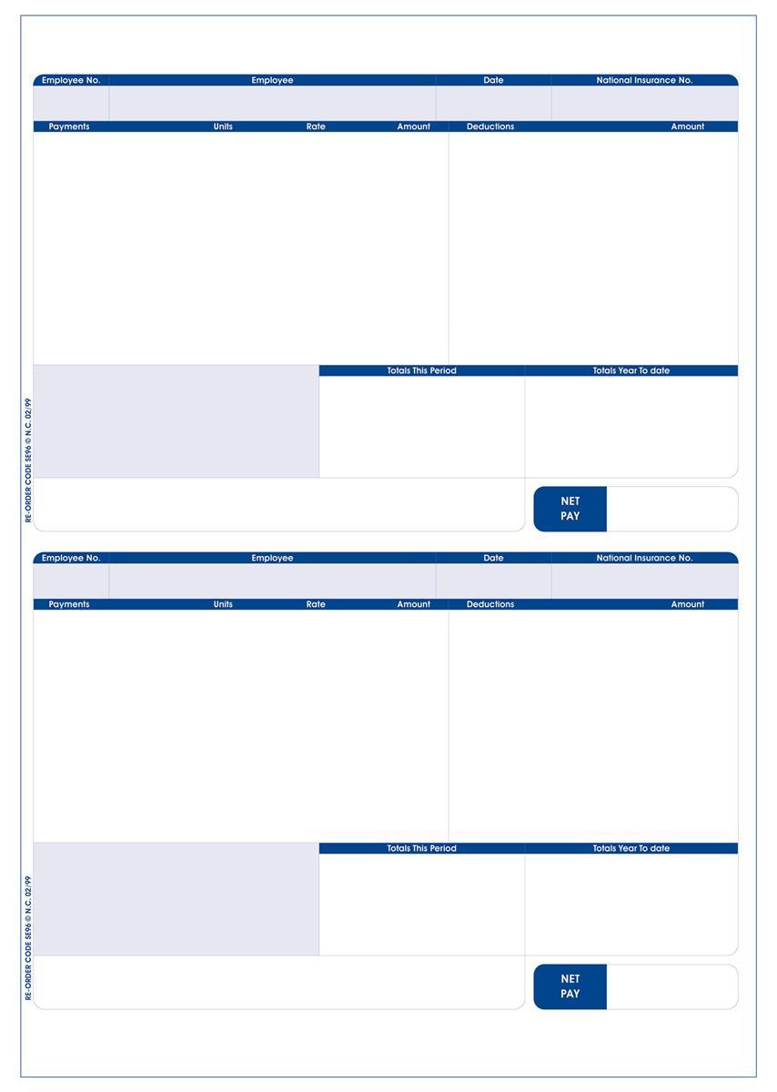 Sage Compatible Payslip 2 Per A4 Sheet Ref SE96 [Pack 1000 Payslips]