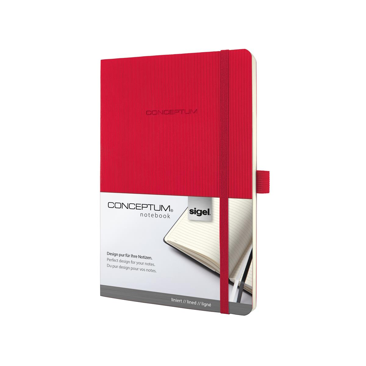 Sigel Conceptum Notebook Leather Look Soft Cover 80gsm  194pp Ruled A5 Red Ref CO325