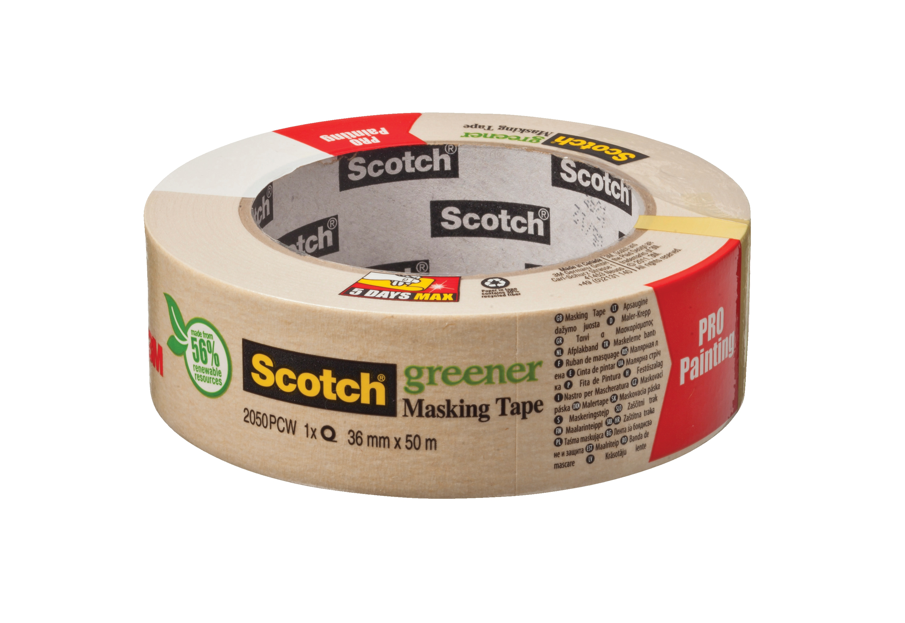 Scotch Greener Masking Tape 36mmx50m Ref 2050 1.5A PCW