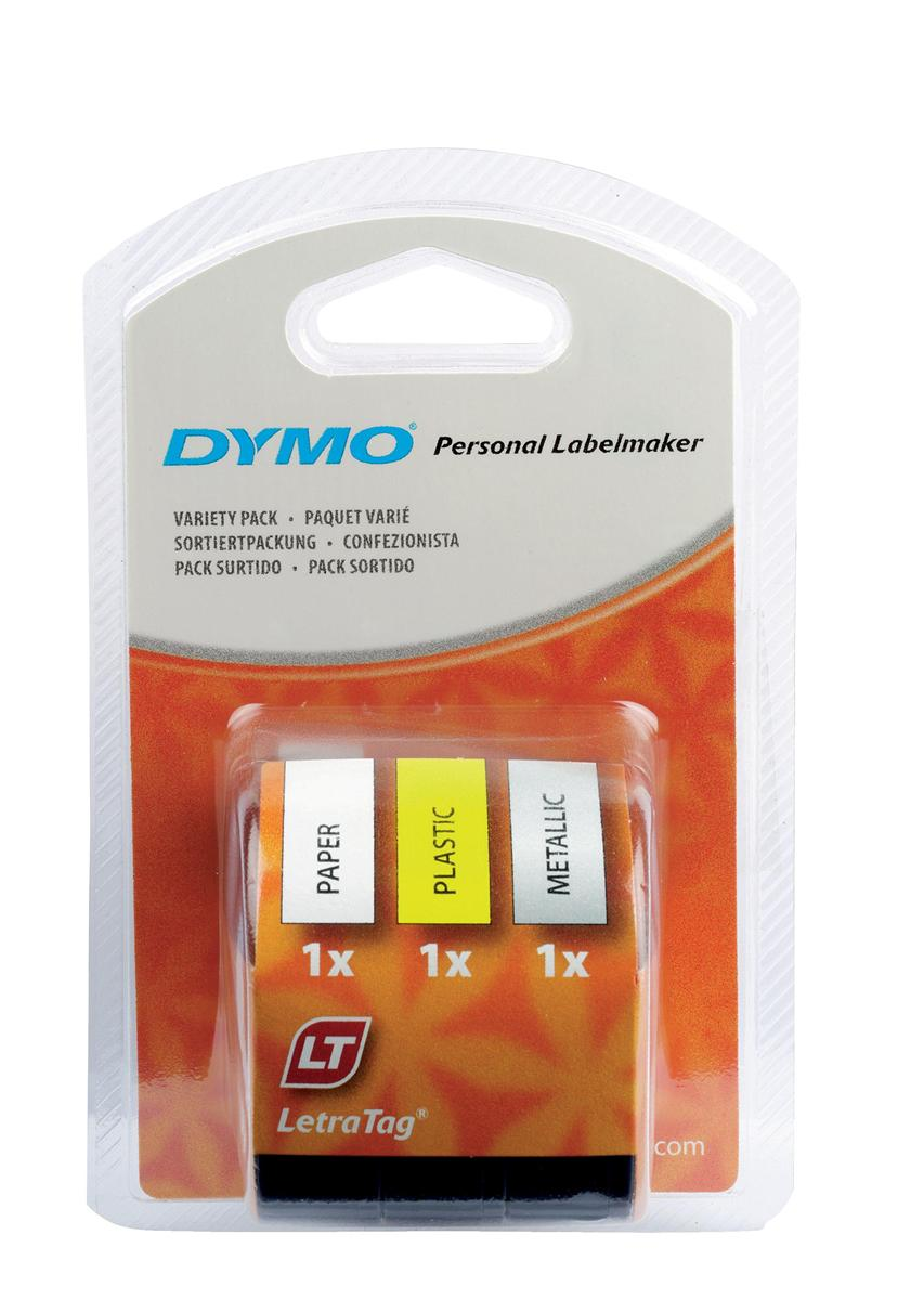 Image for Dymo LetraTag Tape Plastic 12mmx4m Assorted Rolls Ref S071640 [Pack 3]