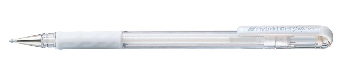 Pentel Hybrid Gel Marker 0.8mm Tip White Ref K118L-LW [Pack 12]