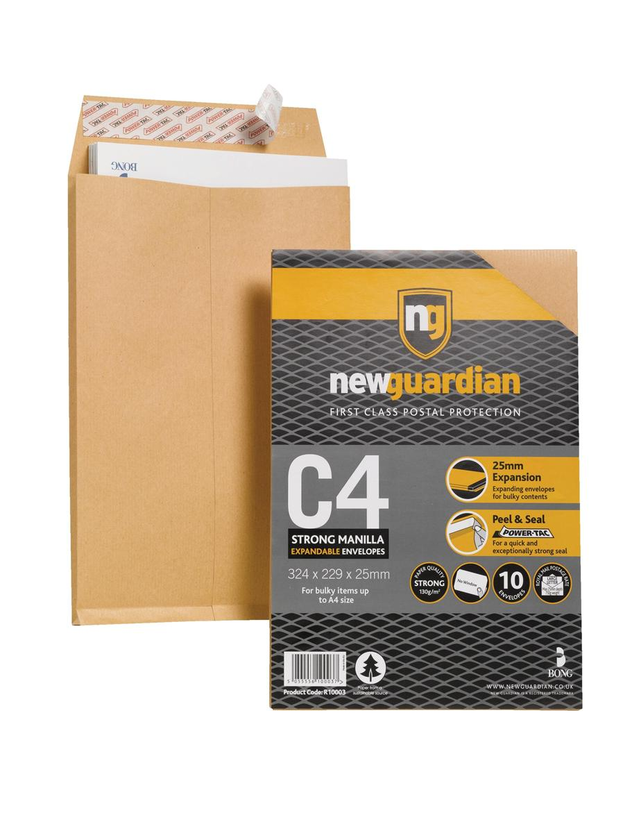 Image for New Guardian Envelopes C4 Gusset Retail Pack Ref R10003 [Pack 10]
