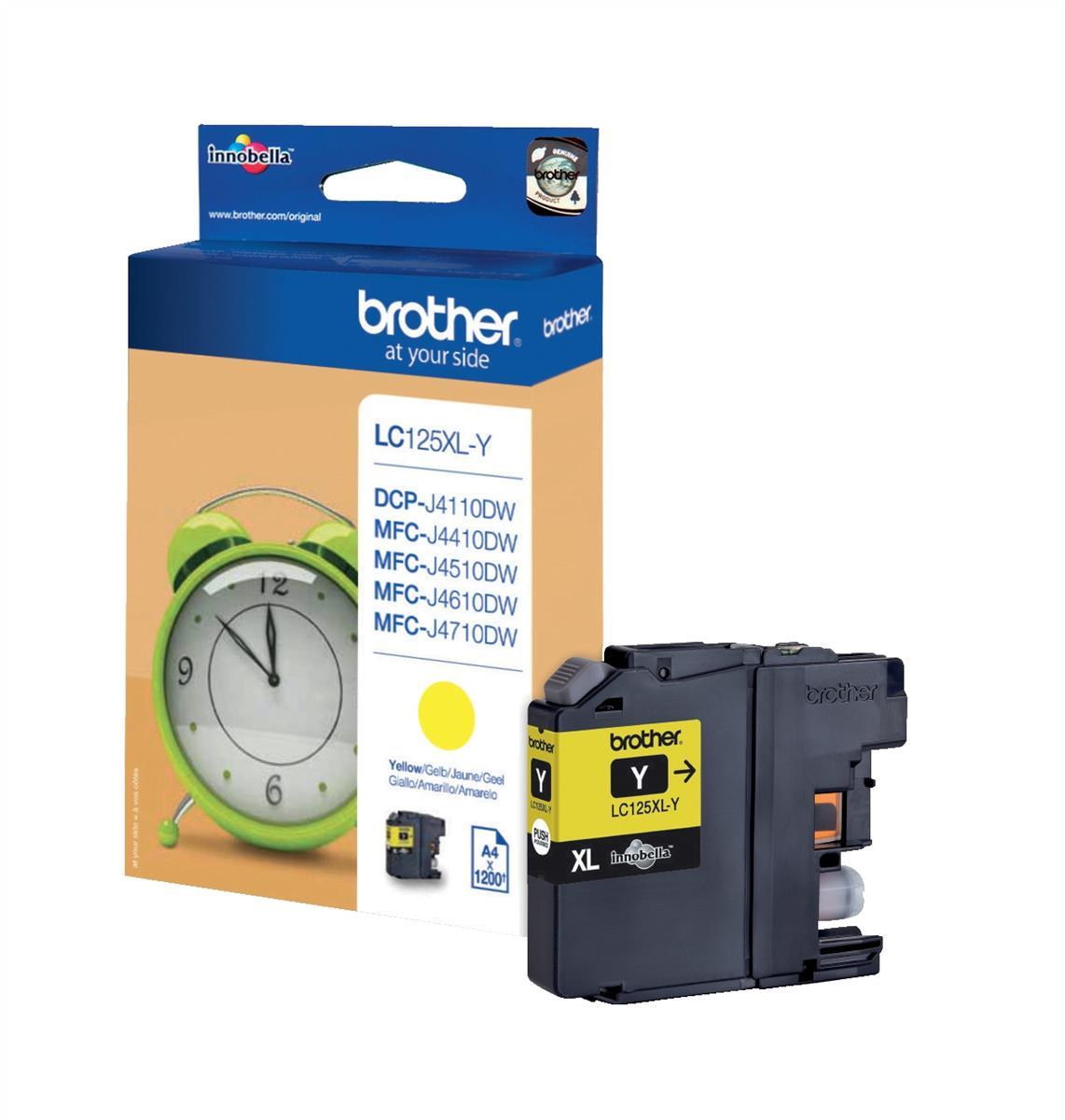 Brother Inkjet Cartridge Page Life 1200pp Yellow Ref LC125XLY
