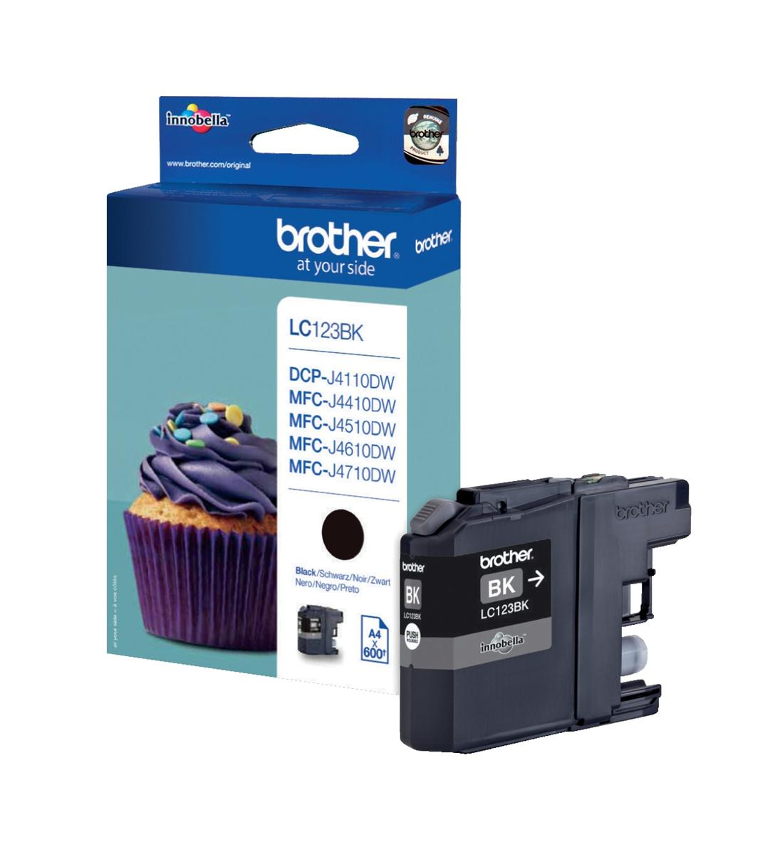 Brother Inkjet Cartridge Page Life 600pp Black Ref LC123BK