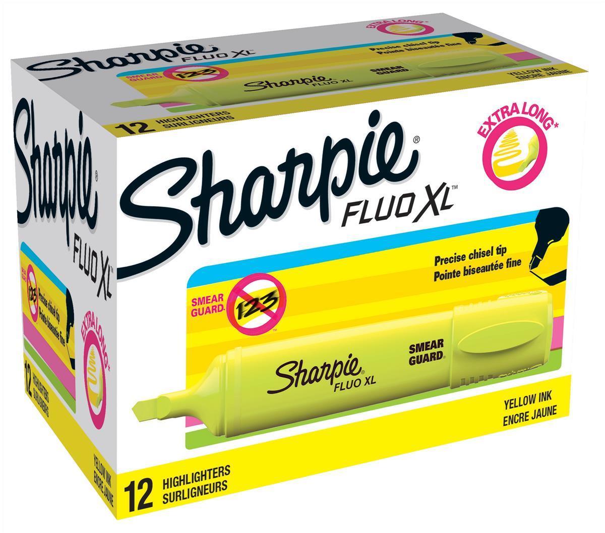 Sharpie Fluo XL Highlighter Chisel Tip 3 Widths Yellow Ref 1825634 [Pack 12]