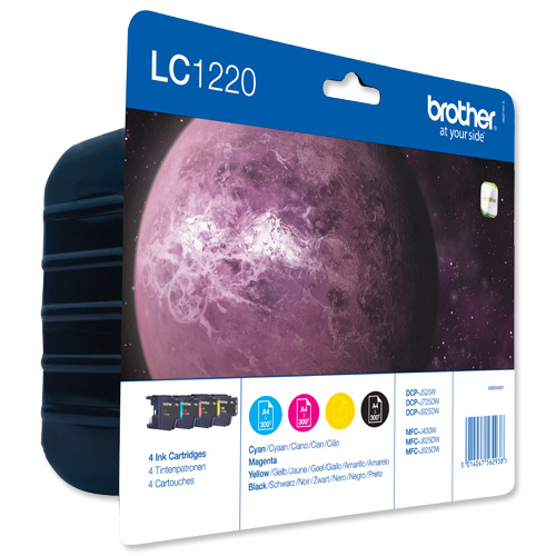 Brother Inkjet Cartridge Value Pack Page Life 1200pp Black/Cyan/Magenta/Yellow Ref LC1220VALBP [Pack 4]