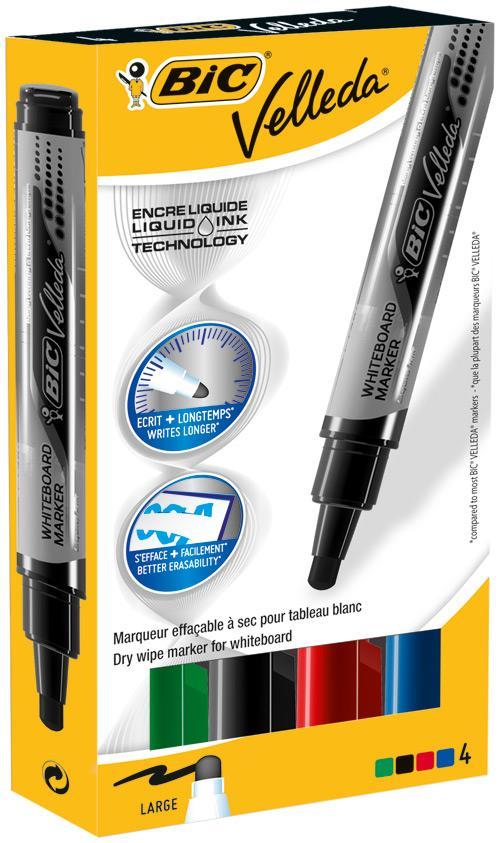 Bic Velleda Whiteboard Marker Liquid Ink Assorted 902099 [Pack 4]