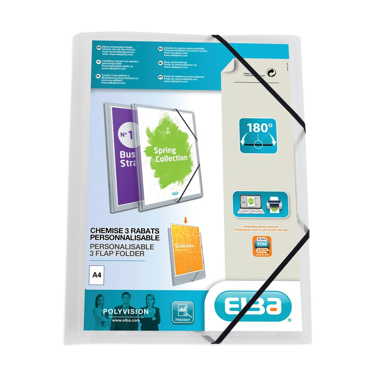 Elba Polyvision Elasticated Folder 3-Flap Polypropylene A4 Clear Ref 100201153 [Pack 12]