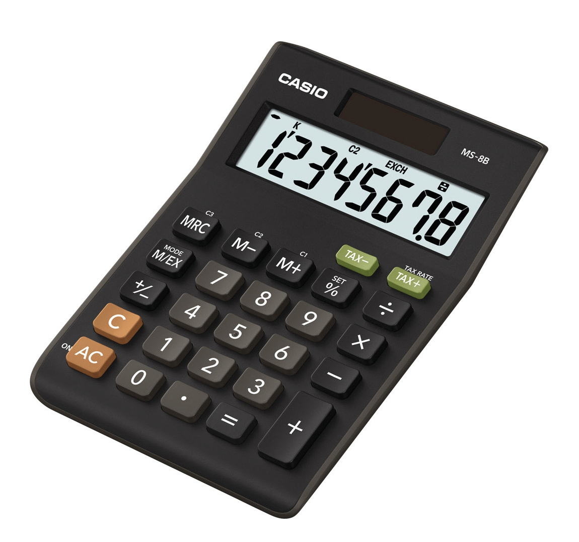 Casio Calculator Desktop Battery/Solar-power 8 Digit 3 Key Memory 103x137x31mm Black Ref MS-8TV/MS-8B