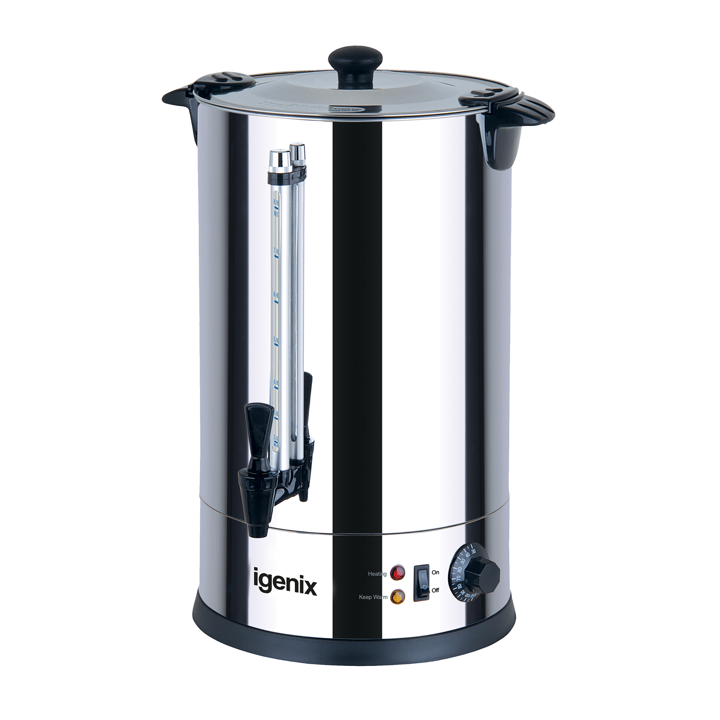 Igenix Catering Urn Locking Lid Water Gauge 1600W 18 Litre Stainless Steel Ref IG4018