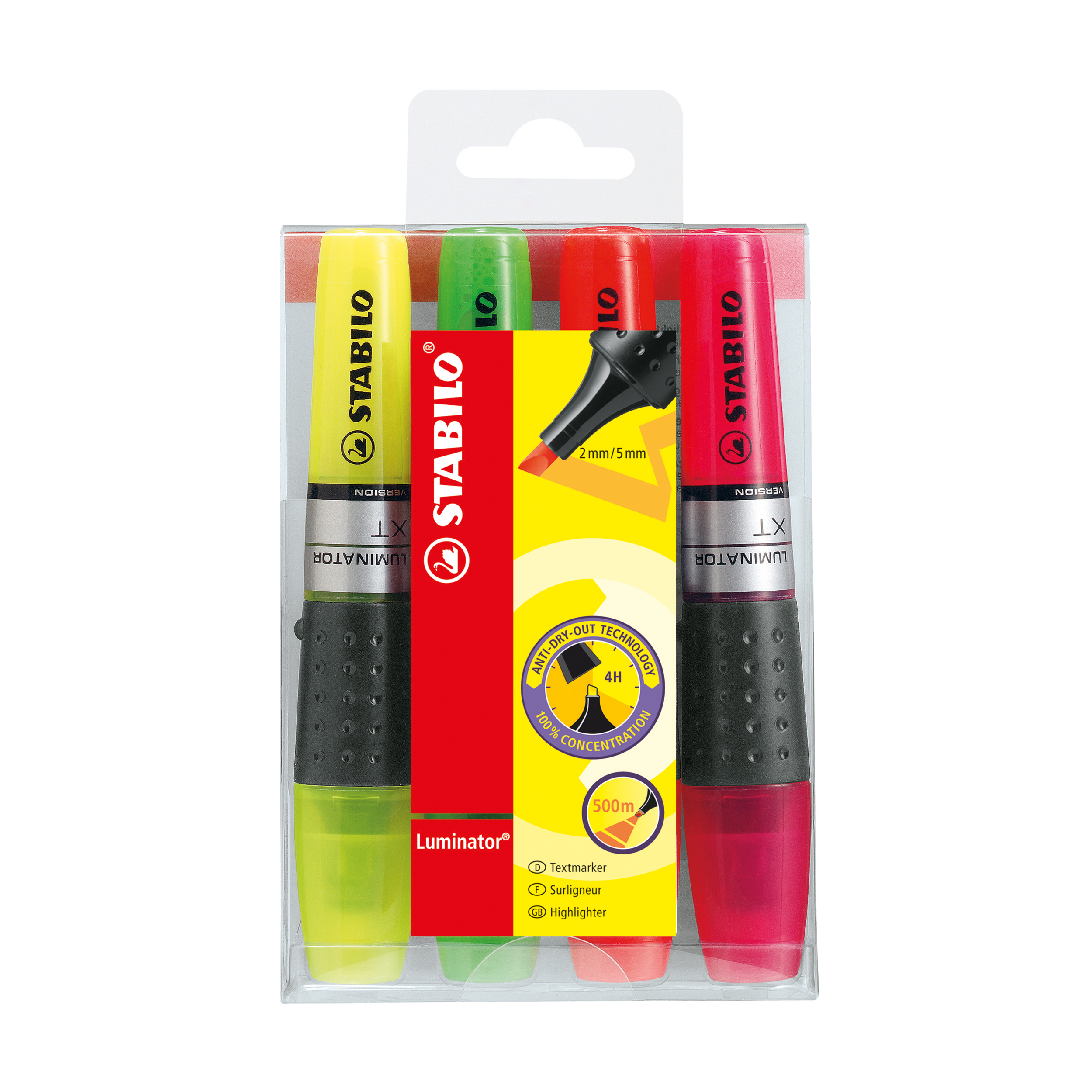 Stabilo Luminator Highlighters Chisel Tip 2-5mm Wallet Assorted Ref 71/4 Pack 4