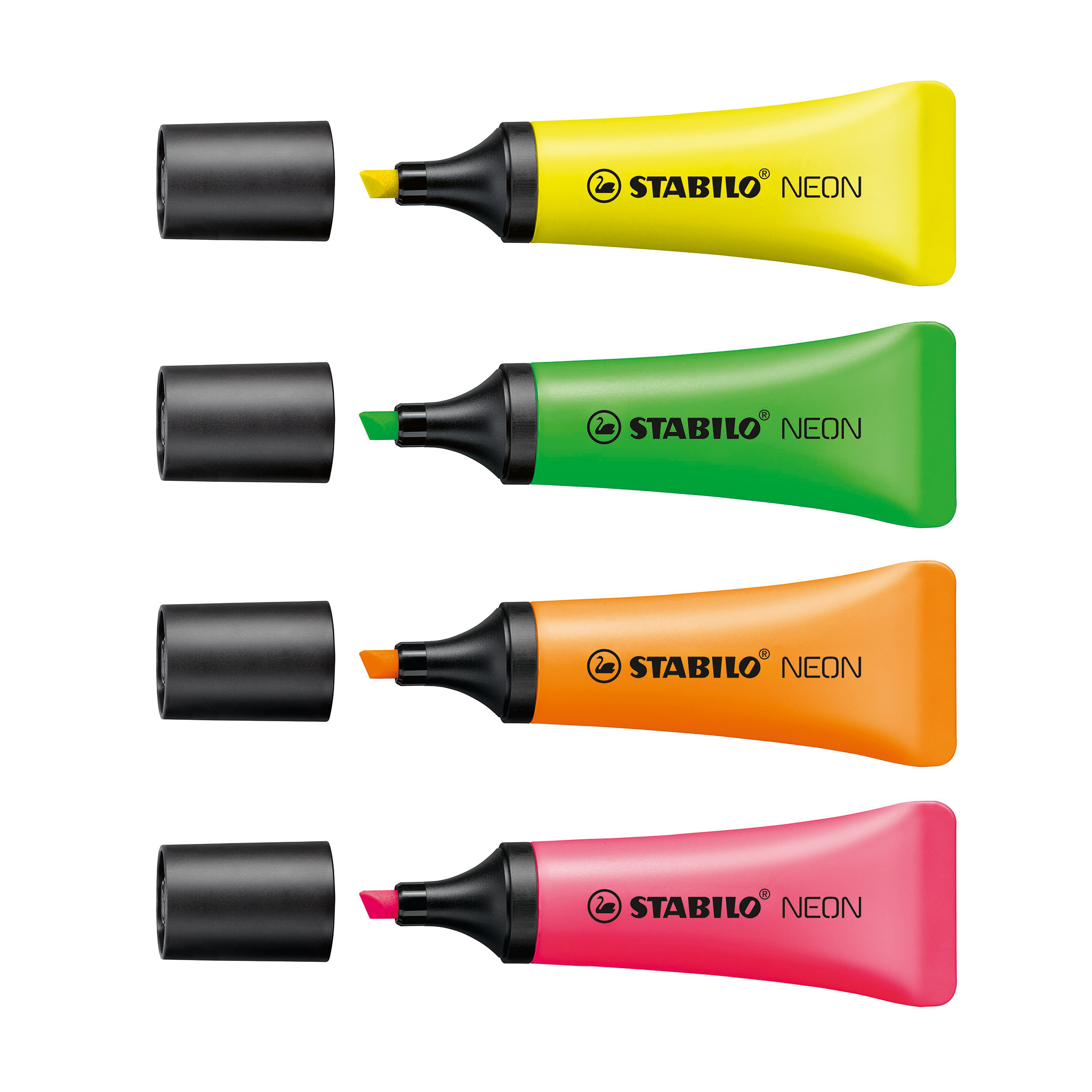 Highlighters Stabilo Neon Highlighter Chisel Tip 2-5mm Wallet Neon Ink Assorted Ref 72/4-1 Pack 4