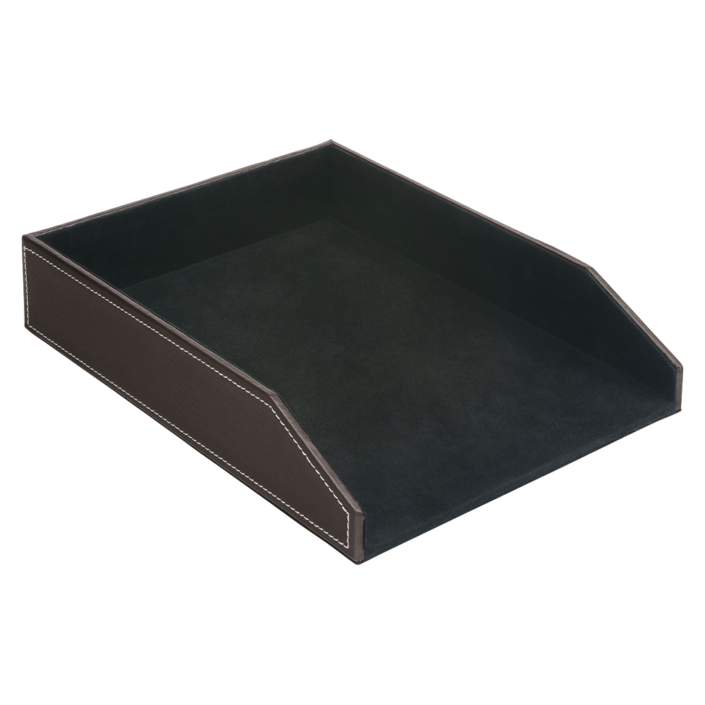 Business Premium Letter Tray Faux Leather Brown